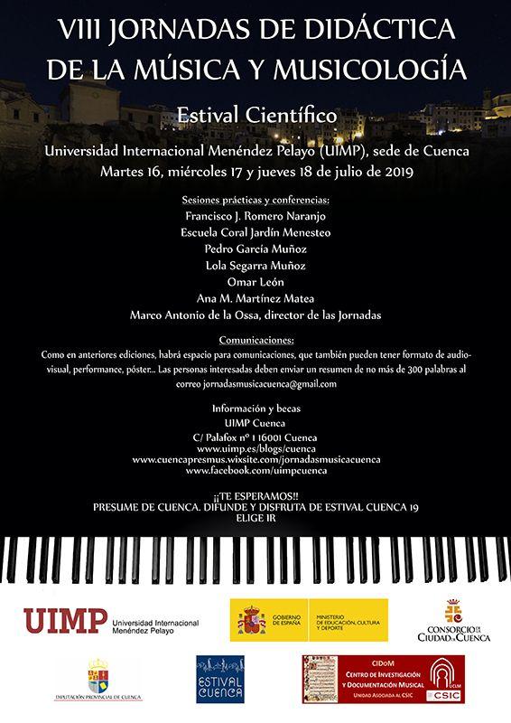 La UIMP de Cuenca acogerá entre el 16 y el 18 de julio las VIII Jornadas de Didáctica de la Música dentro de Estival Cuenca