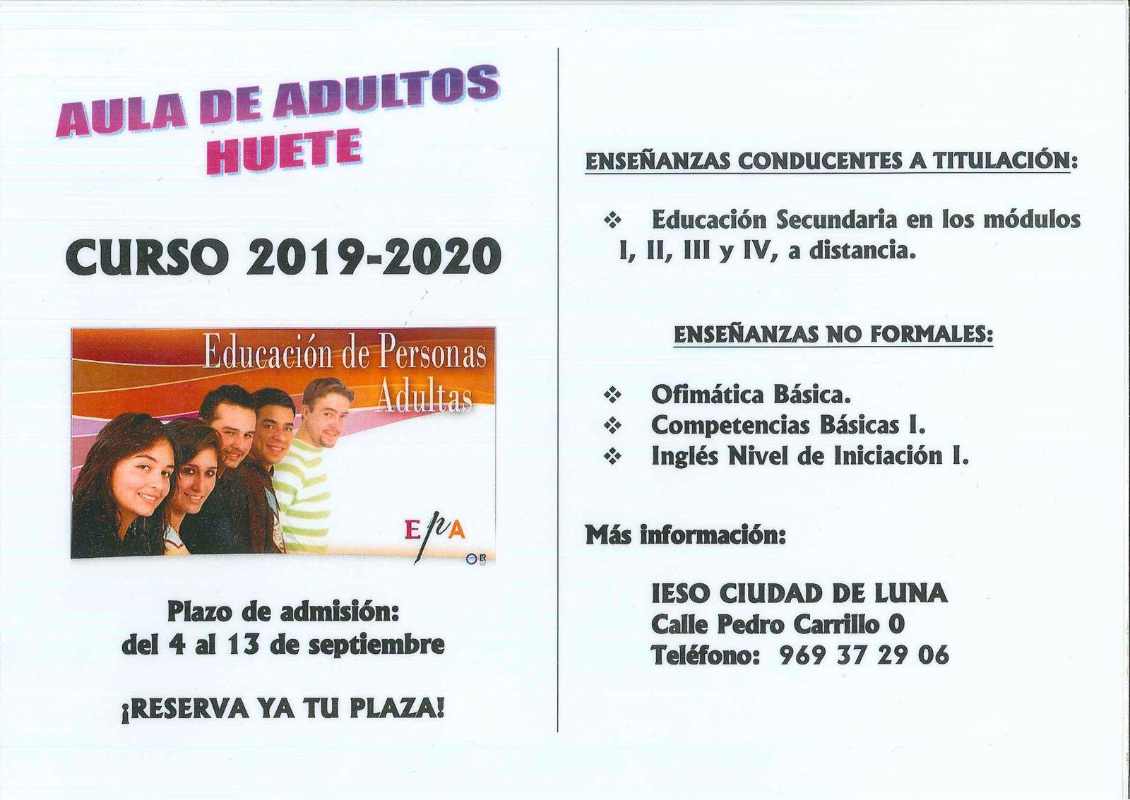 Abierto el plazo de inscripción para el Aula de Adultos de Huete curso 2019-20