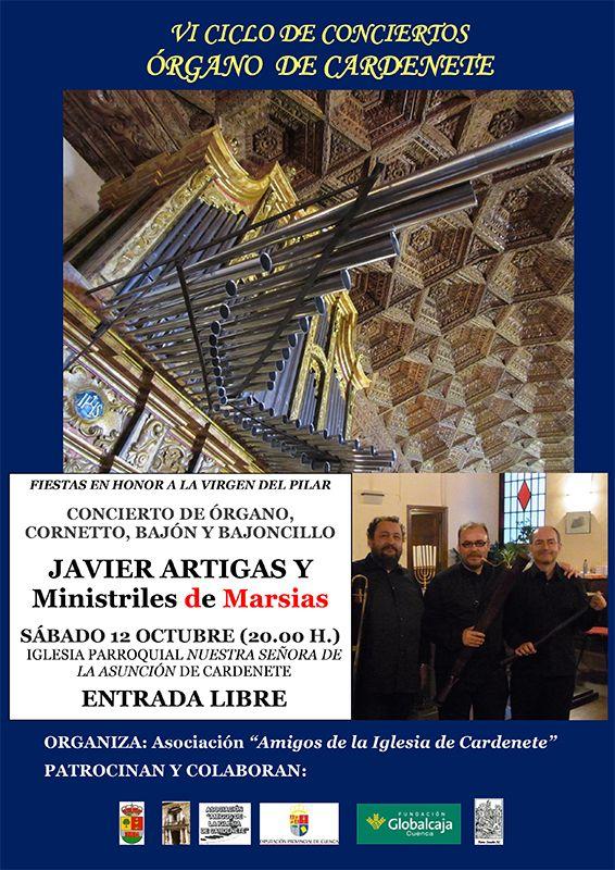Javier Artigas y el grupo Ministriles de Marsias clausuran el VI Ciclo de conciertos del órgano de Cardenete
