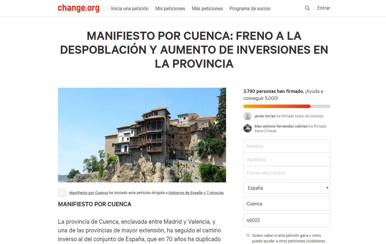 Candidatura de Cuenca pide una participación masiva en la campaña de recogida de firmas Manifiesto por Cuenca