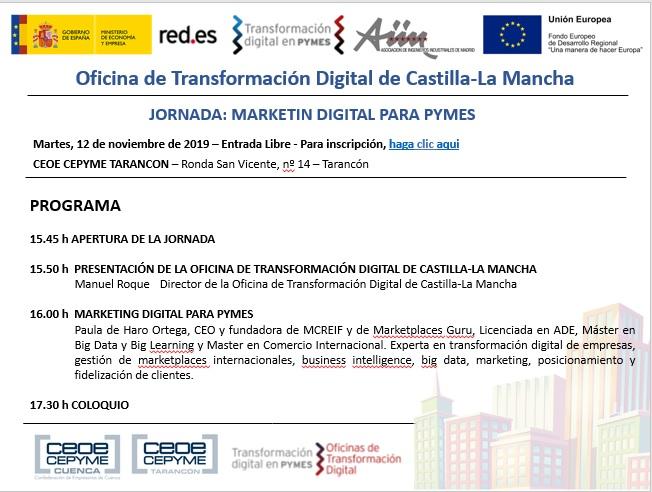 CEOE-Cepyme Tarancón acogerá este martes una jornada de marketing digital para pymes