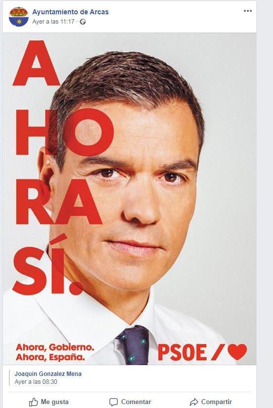 El PP denuncia al Ayuntamiento de Arcas por pedir el apoyo a Sánchez desde su perfil oficial de Facebook