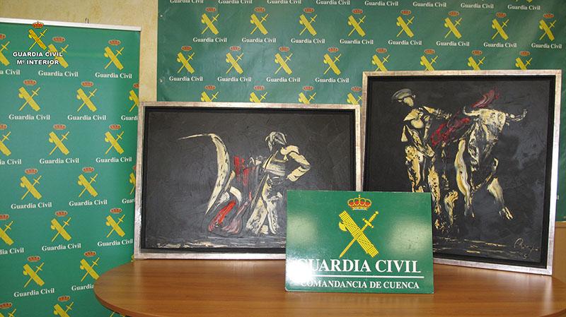 La Guardia Civil de Cuenca recupera dos cuadros sustraídos del pintor Remy J. López