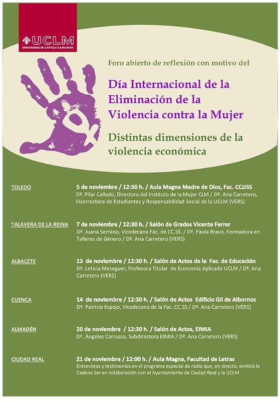 La UCLM celebra del 5 al 21 de noviembre un foro de reflexión sobre la violencia contra la mujer