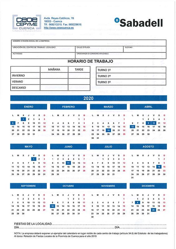 La patronal conquense envía a sus empresas el calendario laboral para 2020