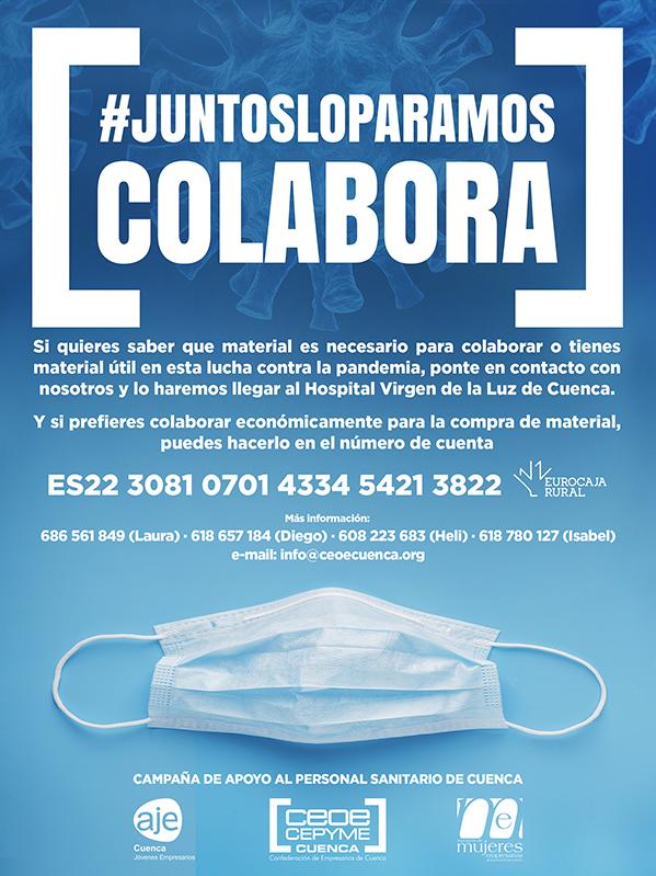 La patronal conquense lanza una campaña para colaborar en la adquisición de material durante la crisis del coronavirus