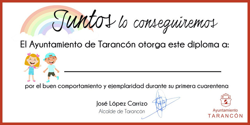 """El Ayuntamiento de Tarancón reconoce el """"buen comportamiento"""" de los niños y niñas del municipio durante el confinamiento"""