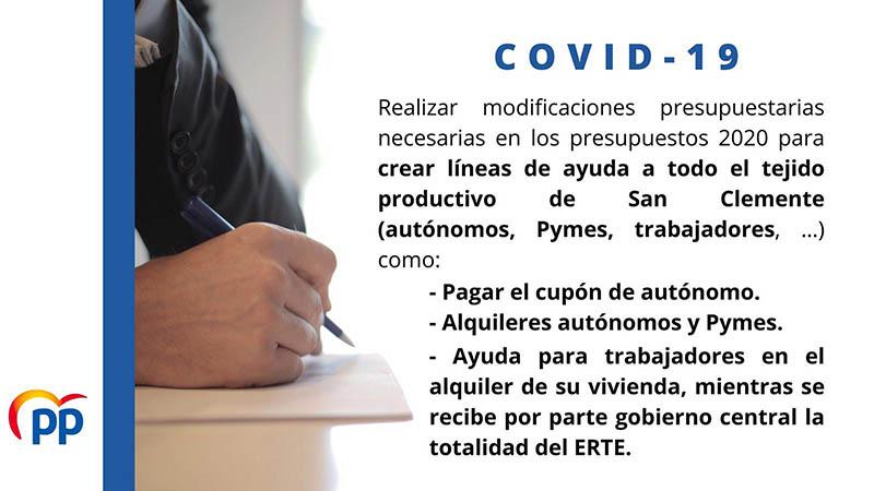 El PP en el Ayuntamiento de San Clemente presenta una serie de medidas para paliar efectos del covid19 en el municipio