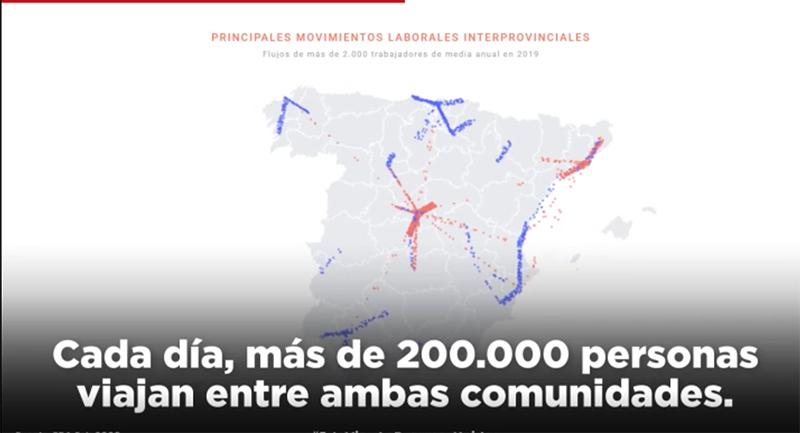"""El PSOE lanza un vídeo para explicar el mapa del coronavirus en la región """"Todos los días, 200.000 personas se mueven entre CLM y Madrid"""""""
