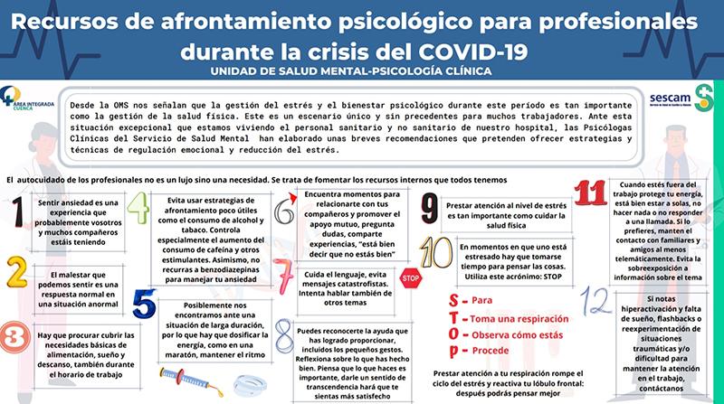 La Gerencia del Área Integrada de Cuenca crea un circuito para la atención emocional a pacientes, familiares y profesionales ante la crisis sanitaria