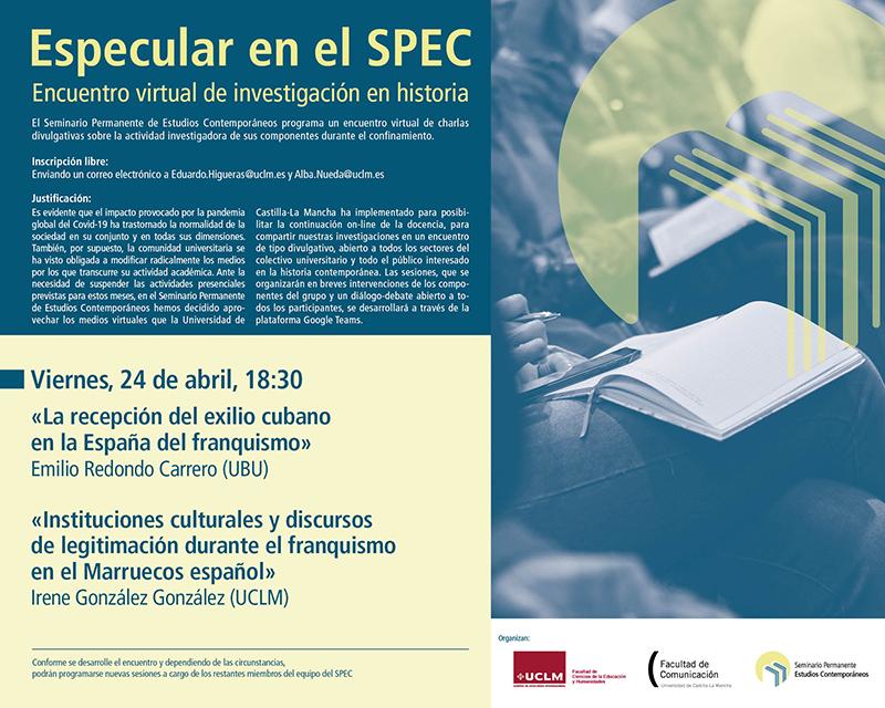 Nueva sesión Especulando con el SPEC este viernes, 24 de abril, a las 1830 horas