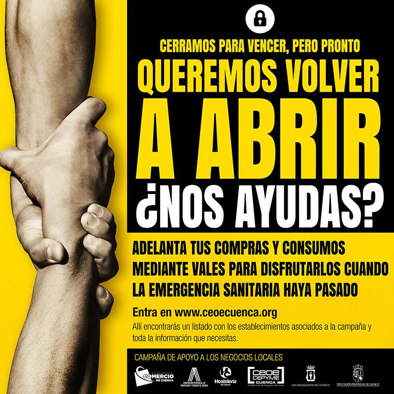 """Superados en Cuenca los 15.700 euros en vales en los establecimientos de la campaña """"Queremos volver a abrir. ¿Nos ayudas"""""""