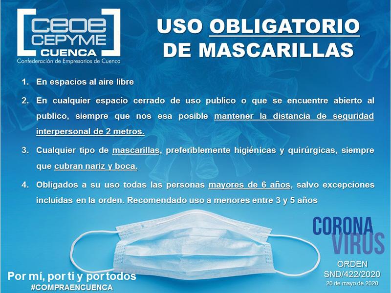 Ceoe Cepyme Cuenca señala a sus empresas la obligatoriedad de mascarilla en determinadas condiciones