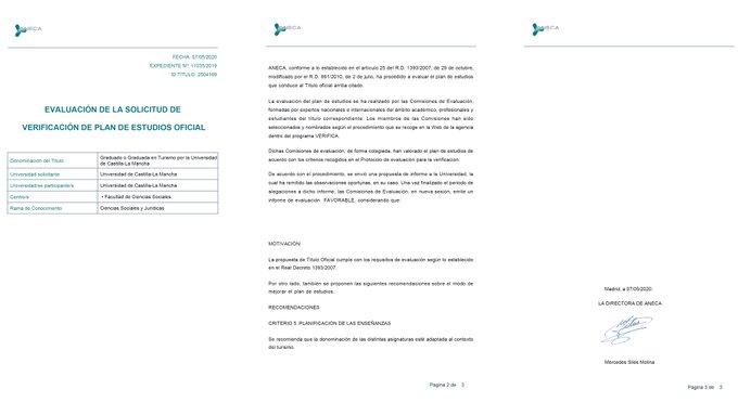Recibido el informe favorable de ANECA para iniciar el Grado en Turismo en el campus de Cuenca
