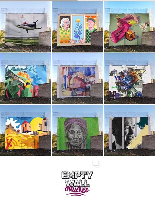 Reto internacional para visibilizar la despoblación llenando de color una de las paredes vacías del frontón de Portalrubio de Guadamejud