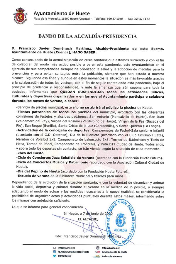 El Ayuntamiento de Huete suspende las actividades lúdicas, culturales y deportivas este verano