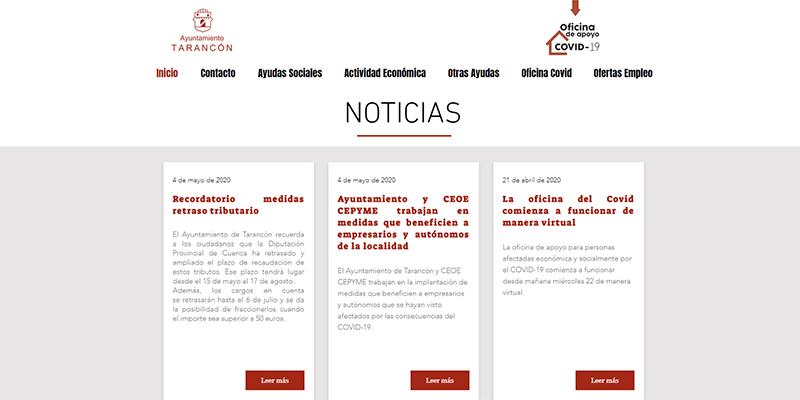 El Ayuntamiento de Tarancón pone en marcha la web de la oficina para personas afectadas económica y socialmente por el COVID-19