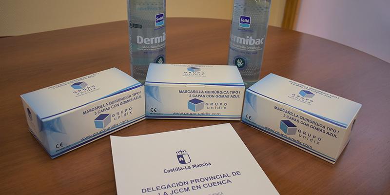 El Gobierno regional reparte 3.600 mascarillas y 3.600 hidrogeles para la realización de las pruebas EVAU en la provincia de Cuenca
