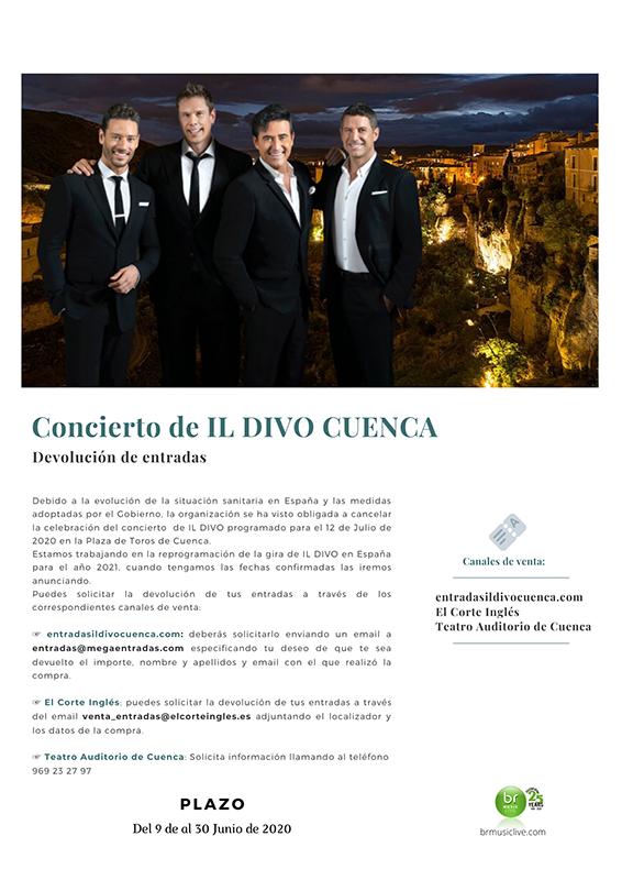 La organización del concierto de 'Il Divo' en Cuenca emite un comunicado para solicitar la devolución de entradas