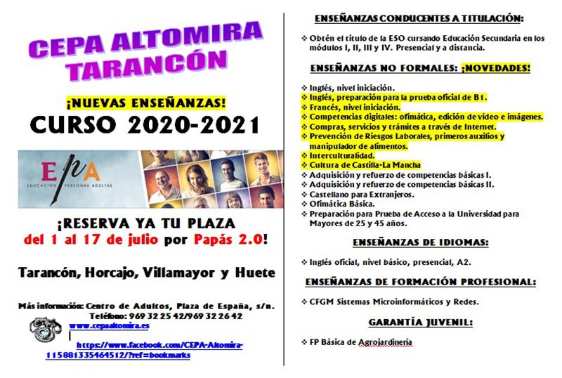 El CEPA Altomira de Tarancón abre el plazo de admisión para el curso 2020-2021 del 1 al 17 de julio