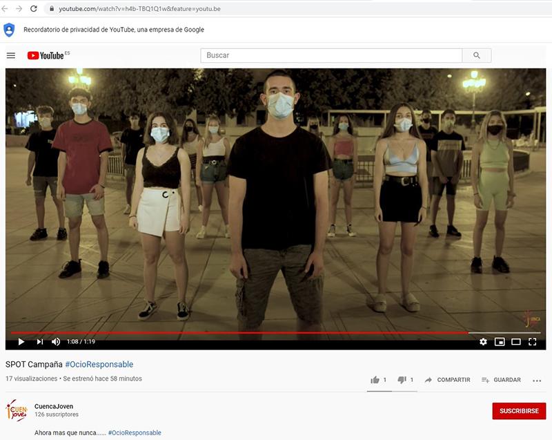 El Ayuntamiento de Cuenca lanza su spot de #OcioResponsable a través de las redes sociales