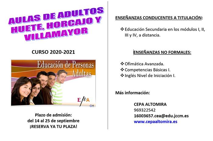 Abierto el plazo de inscripción para el Aula de Adultos curso 2020-21 en Huete