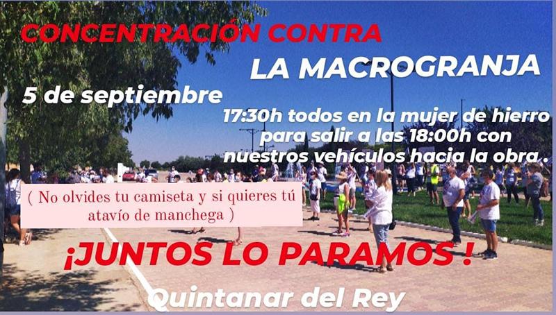 La Plataforma Stop Macrogranjas en Quintanar del Rey organiza una nueva manifestación…, en coche