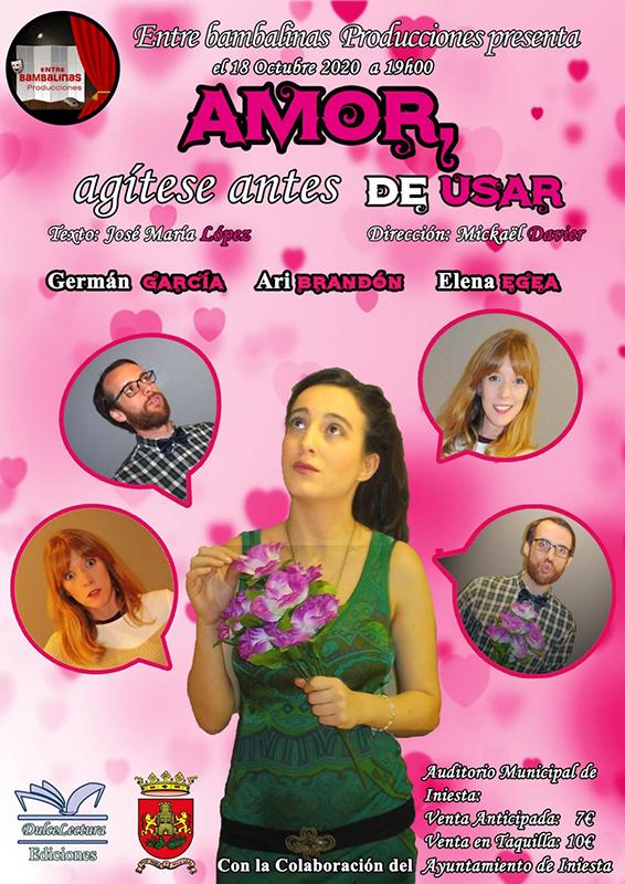 El iniestense José María López estrena la obra de teatro 'Amor…, agítese antes de usar'