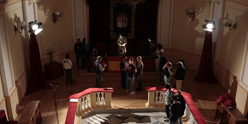 El palacio provincial acoge el rodaje de 'Gibraltar' un corto realizado por los alumnos de Bellas Artes de Cuenca