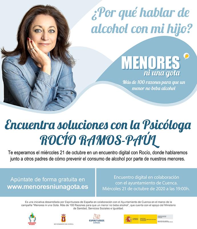 Rocío Ramos-Paúl, Supernanny, mantendrá un encuentro on line con familias de Cuenca para abordar la prevención del consumo de alcohol entre sus hijos menores