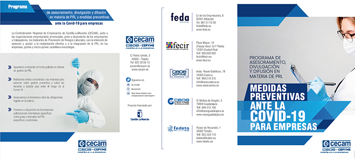 CEOE-Cepyme Cuenca dispone de un tríptico de CECAM con medidas preventivas frente a la Covid 19