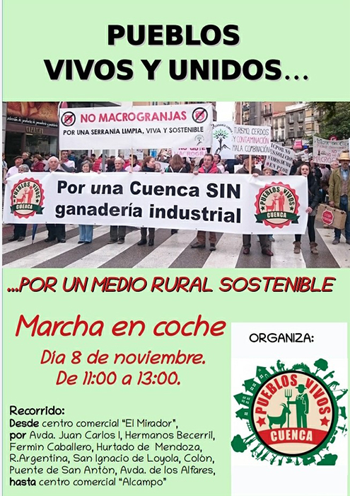 Pueblos Vivos Cuenca convoca una nueva manifestación contra las macrogranjas, esta vez en coche