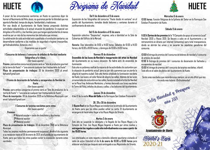 Navidad Especial Huete 2020. Programa de actividades