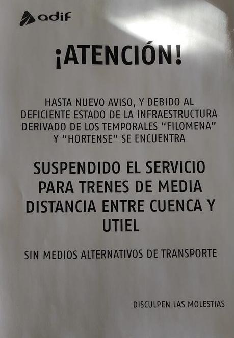 El PP pide a Adif que habilite un transporte alternativo mientras esté suspendida la conexión por tren de Cuenca con Valencia