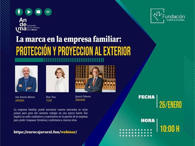 Fundación Eurocaja Rural y Andema celebran un webinar dedicado a la internacionalización de las marcas familiares, con TOUS y Grupo Osborne como protagonistas de excepción