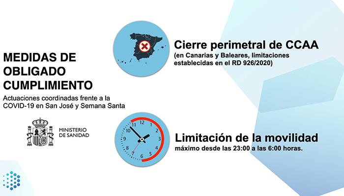 Aprobado el cierre perimetral para la festividad de San José y Semana Santa y el toque de queda a las 23 horas