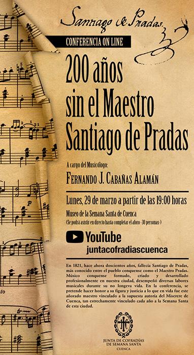 El 29 de marzo se celebra la conferencia '20 años sin el maestro Santiago de Pradas' organizada por la Junta de Cofradías