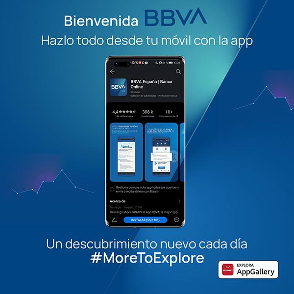 La 'app' de BBVA, disponible para todos los terminales de Huawei a través de AppGallery