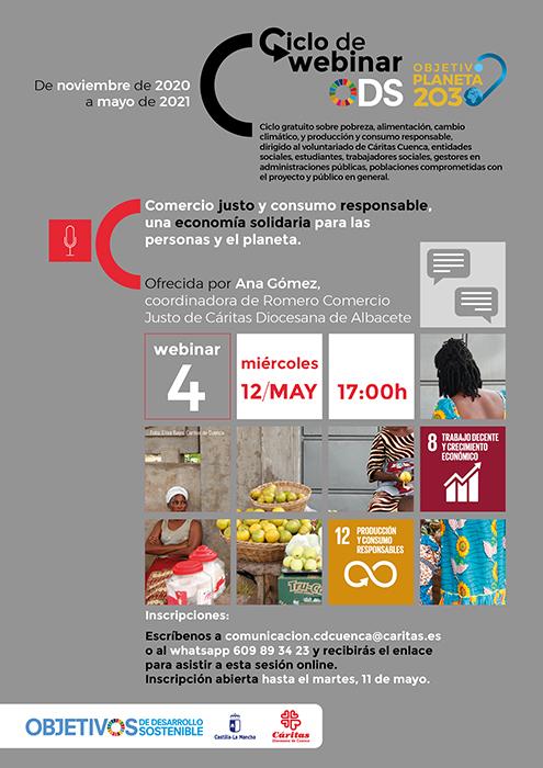 El comercio justo y el consumo responsable, protagonistas de la última webinar de Cáritas Cuenca sobre los ODS y Agenda 2030