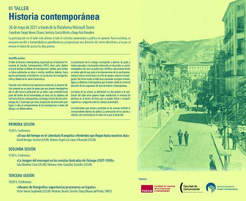 Los investigadores David Benayas Sánchez, Julia Martínez Cano y Víctor Sepúlveda darán inicio al III Taller de Historia Contemporánea organizado por el SPEC-UCLM