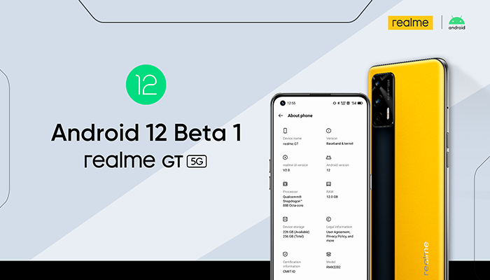 realme GT será el primer smartphone de realme que soportará la Beta 1 de Android 12