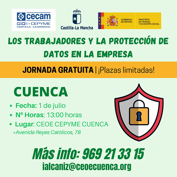 CEOE-Cepyme Cuenca celebra este jueves una jornada sobre protección de datos en la empresa