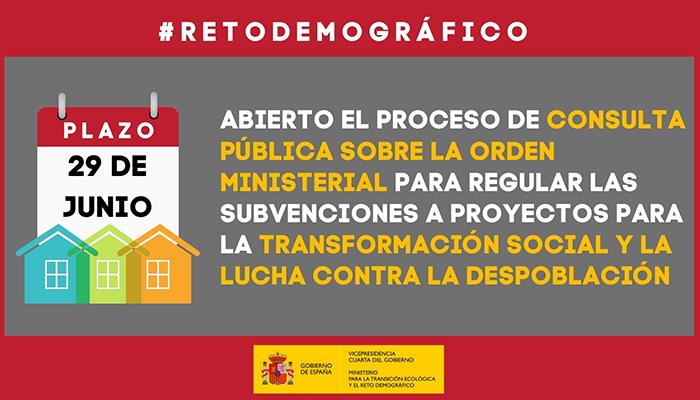 El MITECO inicia la información y consulta pública de la Orden Ministerial que regulará la concesión de subvenciones a proyectos para la transformación social y la lucha contra la despoblación