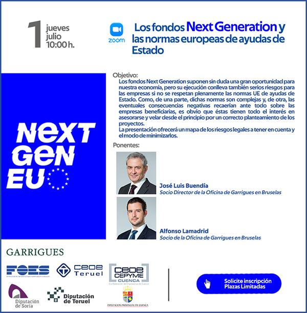 Las CEOEs de Soria, Cuenca y Teruel convocan a sus empresas el 1 de julio para formarse sobre los fondos Next Generation