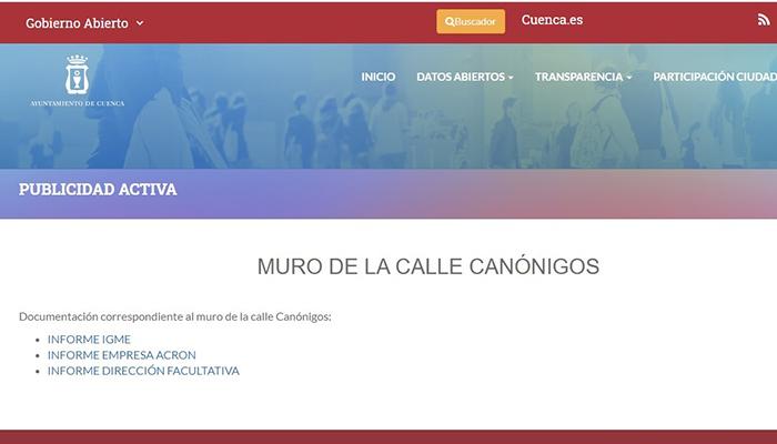Los informes sobre el hundimiento de Canónigos pueden consultarse ya en la web municipal