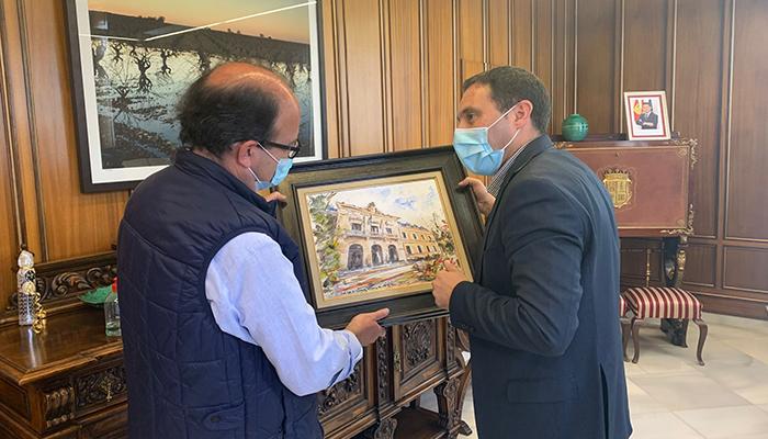 Pedro Romero Sequí lleva a cabo una ilustración del Palacio Provincial que será utilizada como regalo institucional