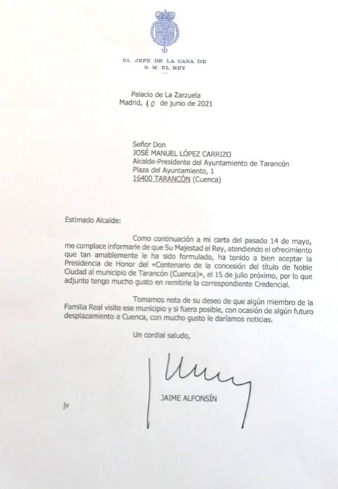 Su Majestad el Rey Felipe VI acepta la presidencia de honor del centenario como Noble Ciudad de Tarancón