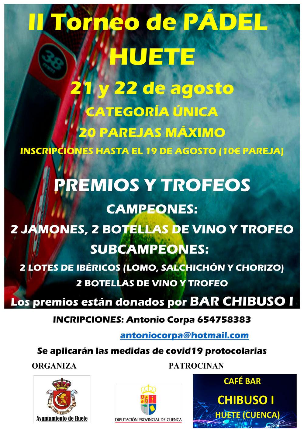 Huete celebrará su II Torneo de Pádel el 21 y 22 de agosto
