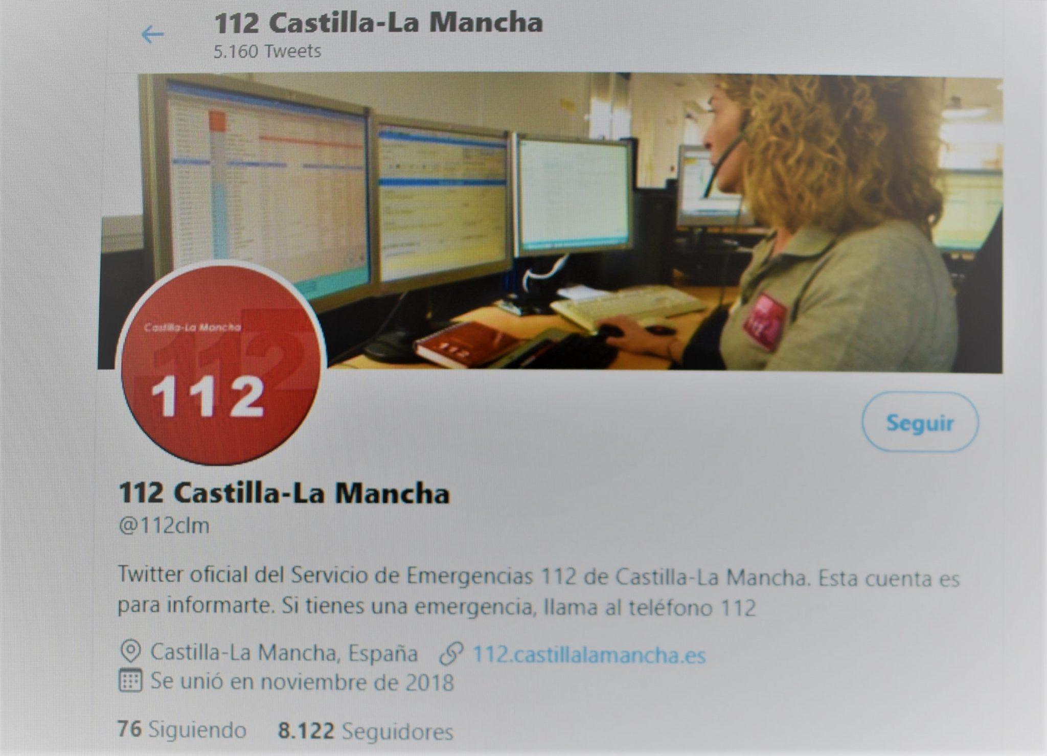 La cuenta oficial de Twitter del 1-1-2 de C-LM, creada para reforzar la comunicación con la ciudadanía, supera los 8.000 seguidores