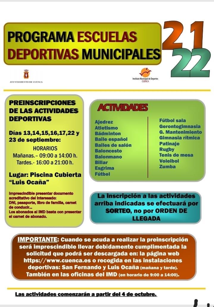 El lunes comienza el plazo para inscribirse en las Escuelas Deportivas Municipales de Cuenca